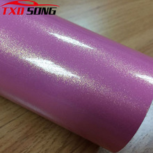 Premium kwaliteit Roze gouden zand glitter wrap film met lucht gratis bellen Roze gouden glitter parel auto sticker