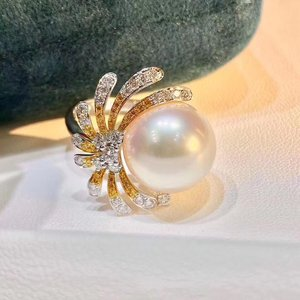 Image 5 - D109 Pearl Rings 11 12mm Fine Jewelry 18K Gold Natural White Peals Diamonds Rings for Women Fine Pearls Rings
