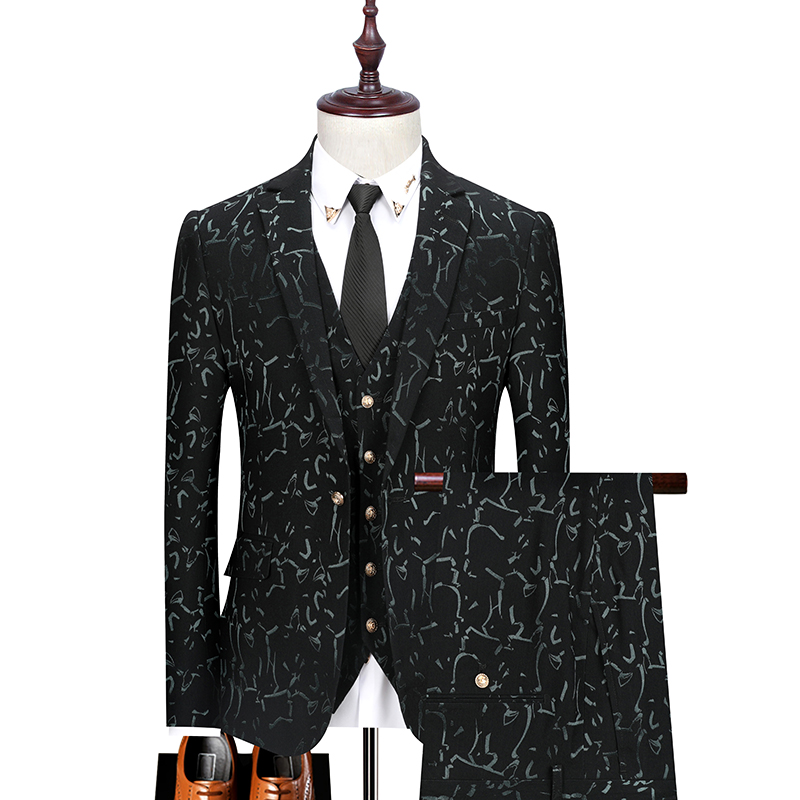 Men's Printed Suit Three-Piece (Jacket + Pants + Vest) Fashion Boutique Business Casual Single Buckle Wedding Dress Suit