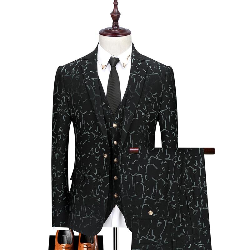Men's Printed Suit Three-Piece (Jacket + Pants + Vest) Fashion Boutique Business Casual Single Buckle Wedding Dress Suit