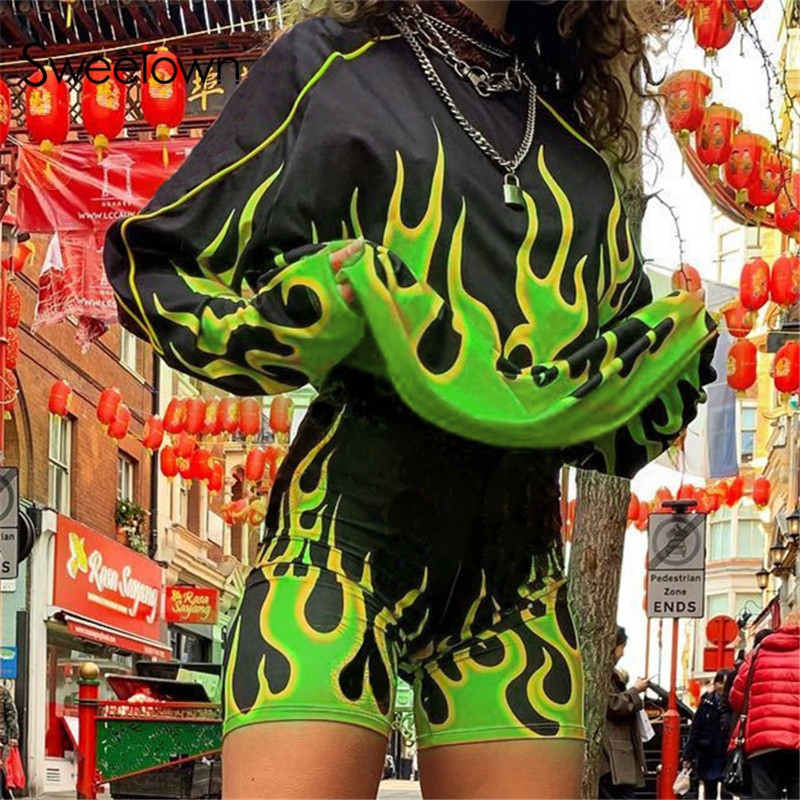 Sweetown Flaming Fire Print Two Piece Set Biker Shorts Set Casual Top And Shorts Activewear Tracksuit Women Workout Club Outfits 2