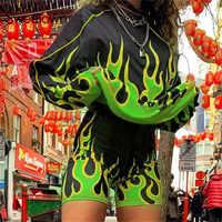Sweetown Flaming Feuer Drucken Zwei Stück Set Biker Shorts Set Casual Top Und Shorts Active Trainingsanzug Frauen Workout Club Outfits