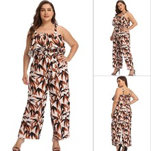 Summer popular high waist pants new fashion Leaf Print sexy wide leg pants casual women's trousers loose sling ladies jumpsuit цена 2017