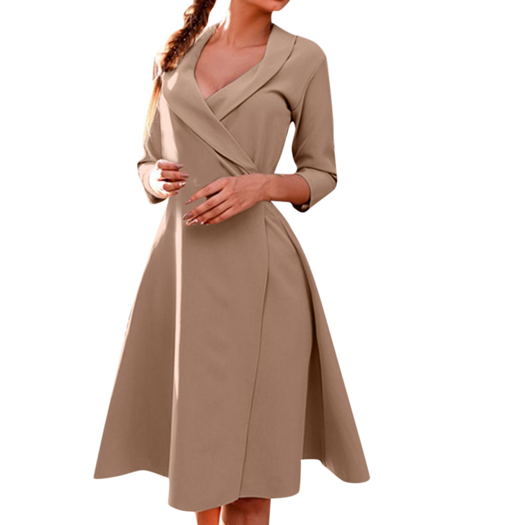 Women Solid Turn down Collar V Neck Long Sleeve Tie Casual Coat Spring Dress Polyester Wrist