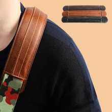 Guitar-Strap Strap-Pad Removable Musical-Instrument Soldier Real-Cowhide