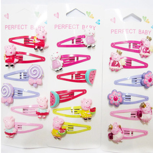 6 шт./компл. Peppa Pig Детский милый мультяшный заколка для волос для девочек, аксессуары для волос, Набор резинок, заколки для волос для детей, ми...