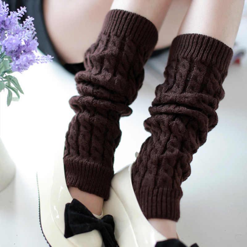 Moda dziewczyna ocieplacze na nogi damskie ciepłe kolana jesień zima dzianiny Boot skarpetki ciepłe panie czarny biały Beenwarmers udo długie skarpetki
