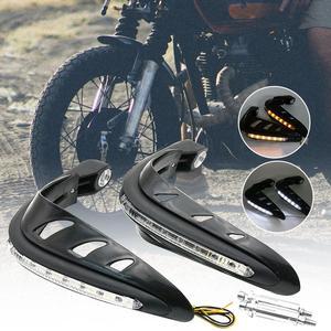 Image 1 - 2 adet motosiklet motosiklet gidon el muhafızları koruyucu güvenlik LED ışık motosiklet aksesuarları