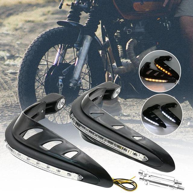 2 adet motosiklet motosiklet gidon el muhafızları koruyucu güvenlik LED ışık motosiklet aksesuarları