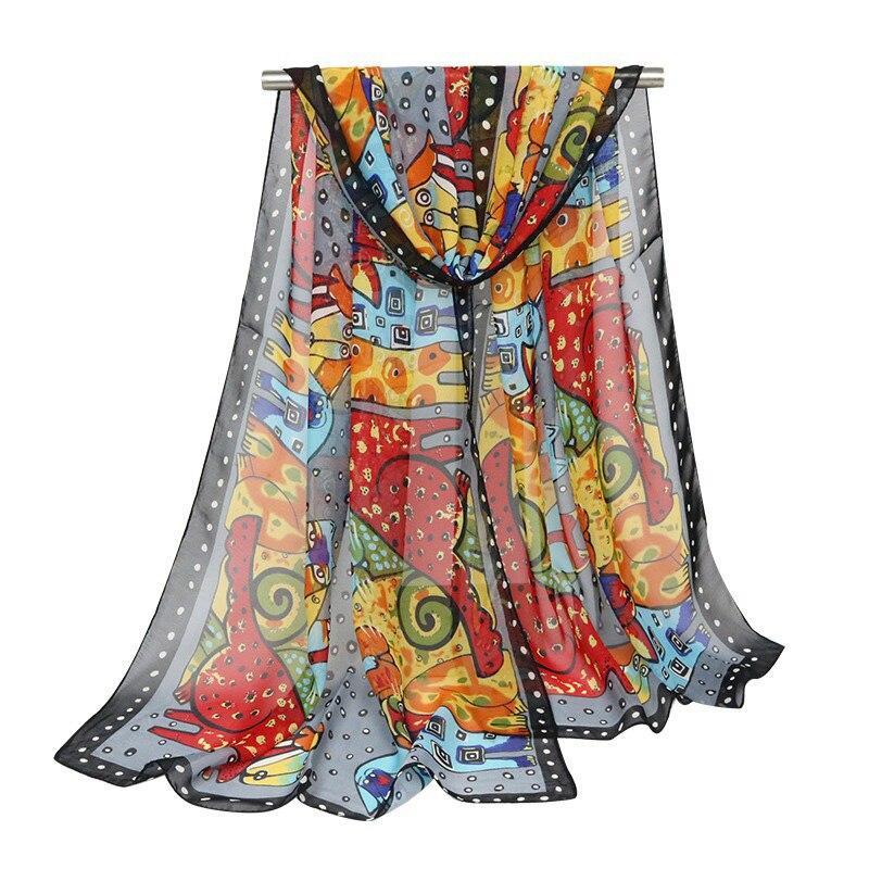 Cat Scarf Women Silk Dog Animal Cartoon Spring Ladies Scarves Fashion Women Soft Long Wrap Neck Chiffon Scarf Shawl 160cm*50cm