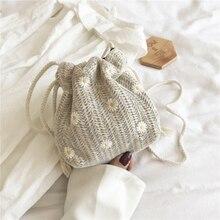 Straw Bag Female 2021 New Fashion Lace Bucket Woven Bag Wild Ins Single Shoulder Messenger Small Beach Bag woven beach bag