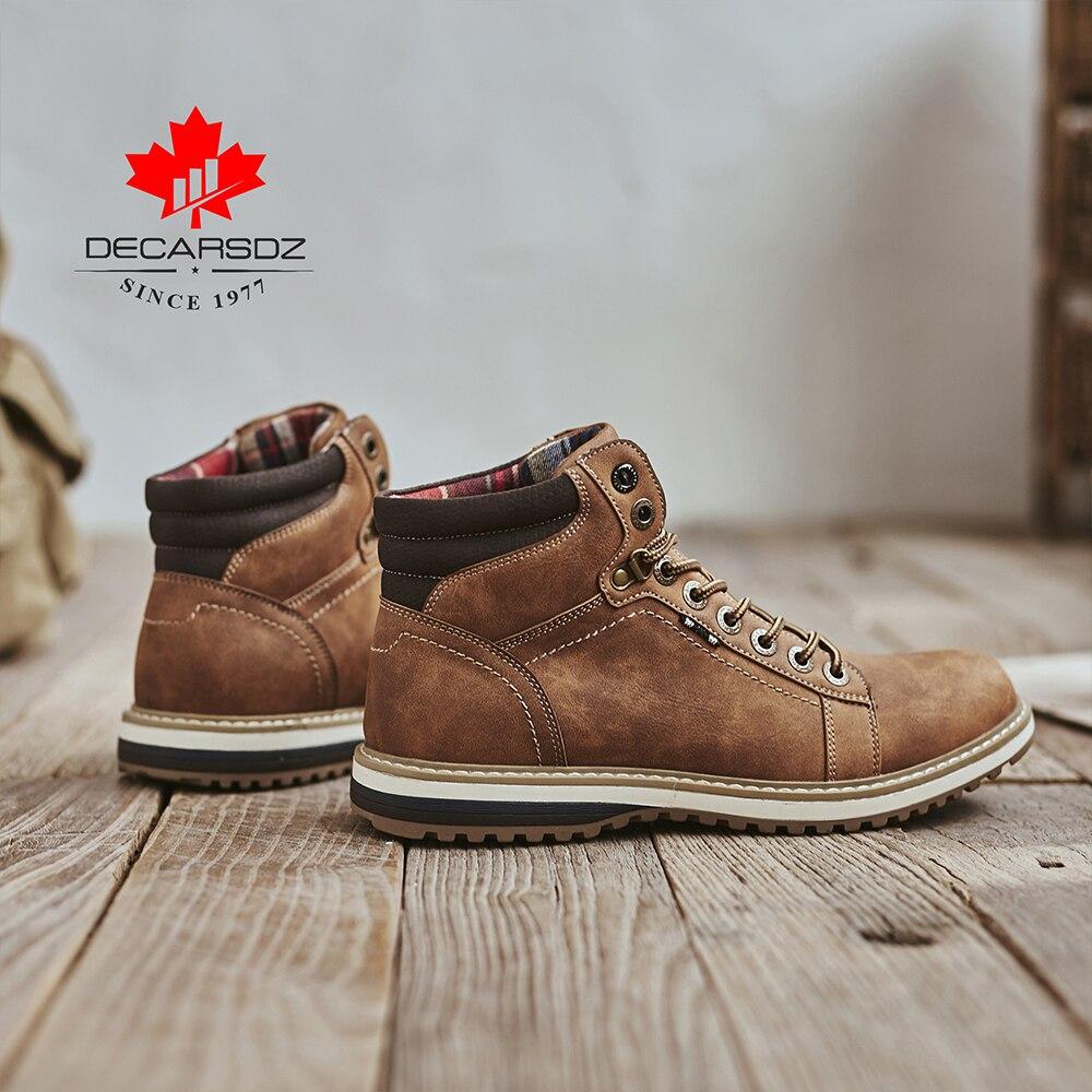 DECARSDZ Men Boots Lace-up Leather Shoes Popular Comfy Autumn Men Shoes Men Casual Boots Fashion Men's Boots Hiking Botas Hombre 5