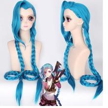 Вечерние парики костюм игра Джинкс Лига Легенд синий косплей синтетические волосы парик