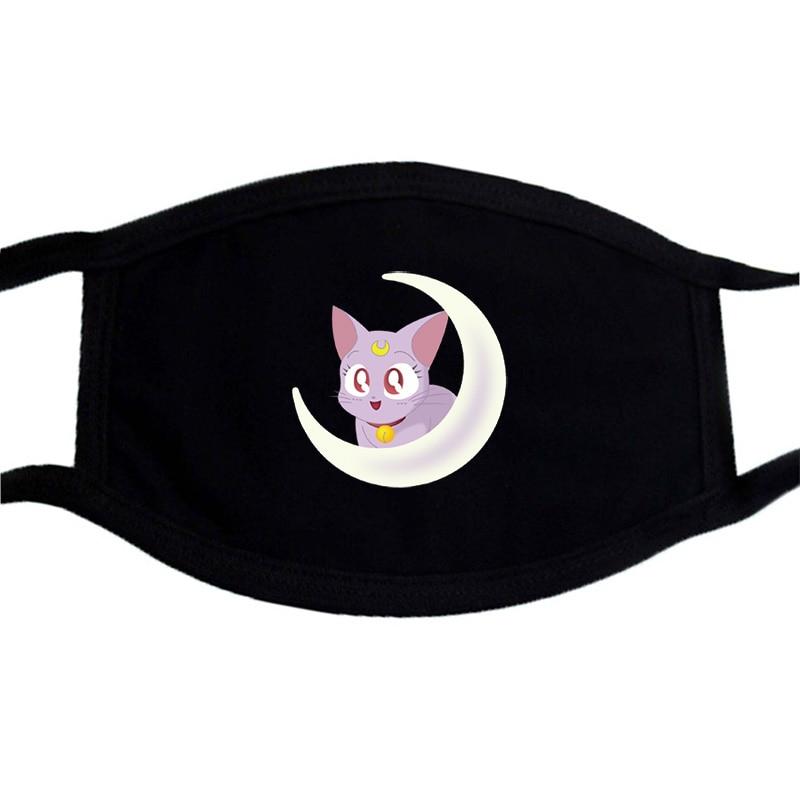 Sailor Moon Japan Anime Mask Face Unisex Washable Dustproof Funny Print Masks Black Bilayer Winter Warm Cotton Mouth Muffle Mask