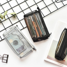 Transparent Grid Pencil Case Large Capacity Zipper Student Stationery Storage Box School Supplies Bags