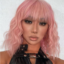AZQUEEN Short Water Wave Wigs Synthetic Bob Wig Hair with Bangs Hair Wigs for Women Cosplay Pink Wigs Lolita Bob wig