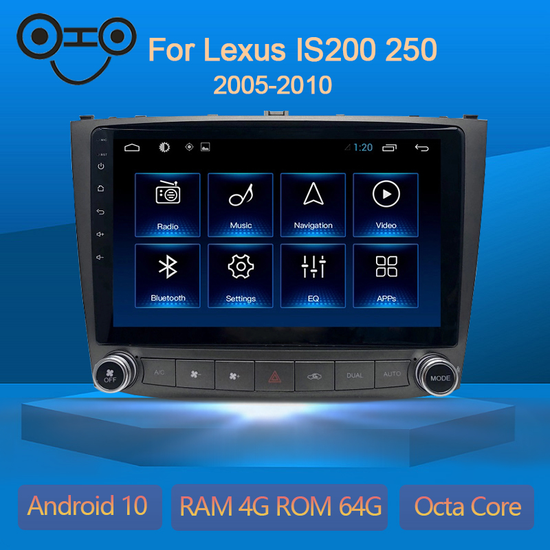 Android 10.0 Octa Core 4+64G Gps Navigation Car Multimedia Player Radio For Lexus IS200 250 2005-2010 image