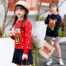Sweater with Deer for Girl High Fashion New Winter Cartoon Baby Girls Christmas Sweater Children Pullover Knitting Clothes Kids