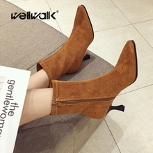 Wellwalk Suede Ankle Boots Heels Women Flock Short Booties Pointed Toe Female Autumn Flannel Low Boots Ladies Winter Shoes Woman недорого