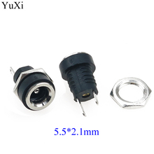 цена на YuXi 3A 12V For DC Power Supply Jack Socket Female Panel Mount Connector 5.5mm 2.1mm Plug Adapter 2 Terminal Types 5.5*2.1