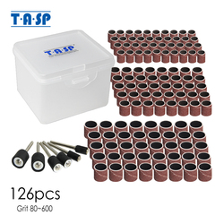 TASP 126pcs 1/4'' 3/8'' 1/2'' Sanding Bands for Dremel Grinding Abrasive Nail Power Tool Accessories Sanding Drum Kit with box