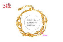 Fashion gold-plated multi-layer bead bracelet retro exquisite ladies charm dance party birthday accessories