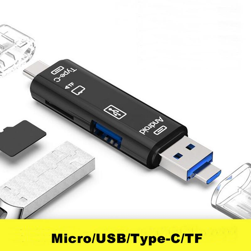 All In 1 Type C USB C Micro USB Memory OTG Card Reader Usb 3.1 Card Reader High Speed SD TF Micro SD Card Reader Wholesale