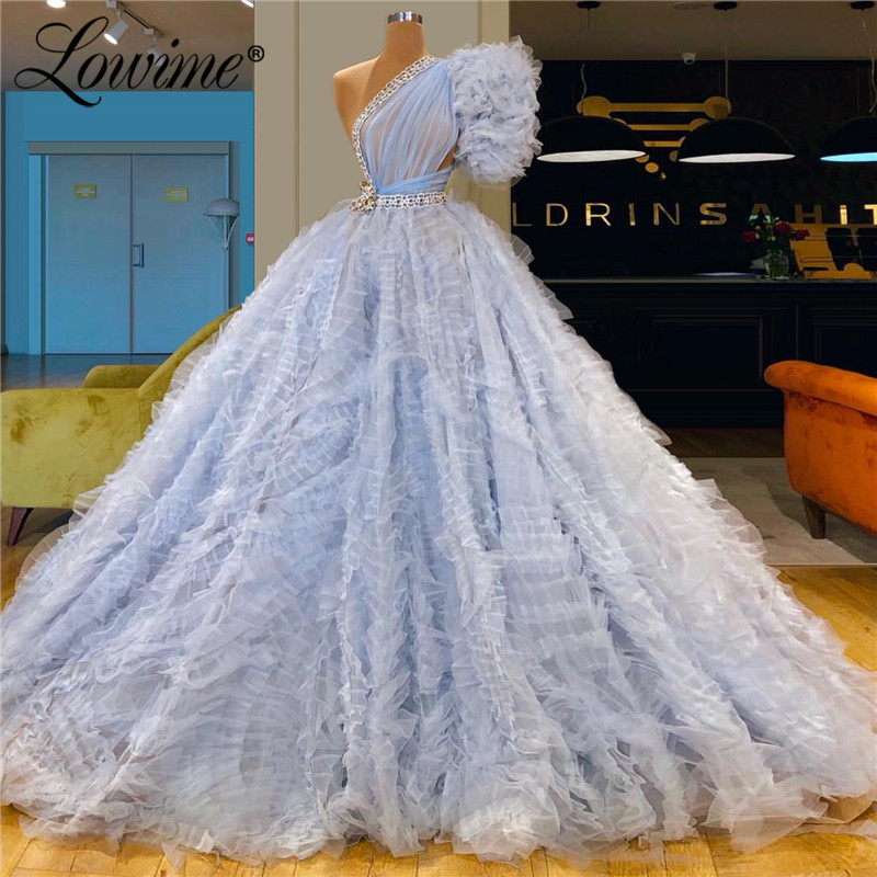 Light Blue One Shoulder   Evening     Dress   Elegant Soft Tulle Cloud Prom   Dresses   2019 Couture Beaded Party   Dress   Gowns Abendkleider