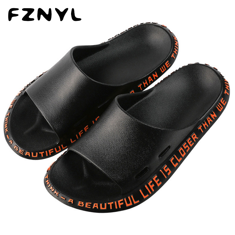 FZNYL Men's Fashion Slippers Male Casual Slides Non-slip Design Soft Bathroom Shoes Breathable Beach Flip Flops Zapatos Hombre