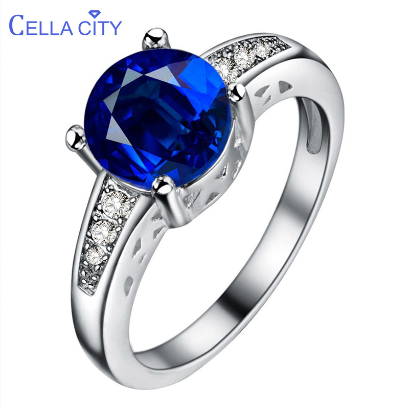 Cellacity High Grade Classic Silver 925 Jewelry Eight Kinds Of Gemstones Choice Sapphire Ring For Women Ruby Wedding Engagement