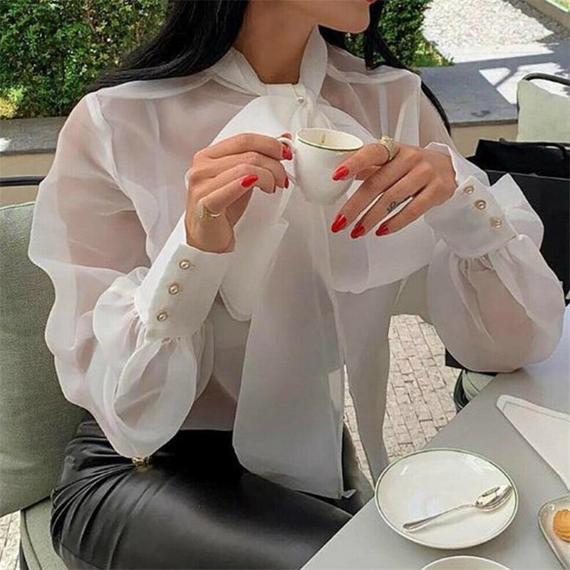 Frauen Mesh Sheer Bluse Sehen-durch Lange Sleeve Top Hemd Bluse Fashion Lace-up Bowknot Transparent Weiß Hemd weibliche Blusas