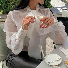 여성 메쉬 쉬어 블라우스 see-through 긴 소매 탑 셔츠 블라우스 패션 레이스 업 bowknot 투명 흰색 셔츠 여성 blusas