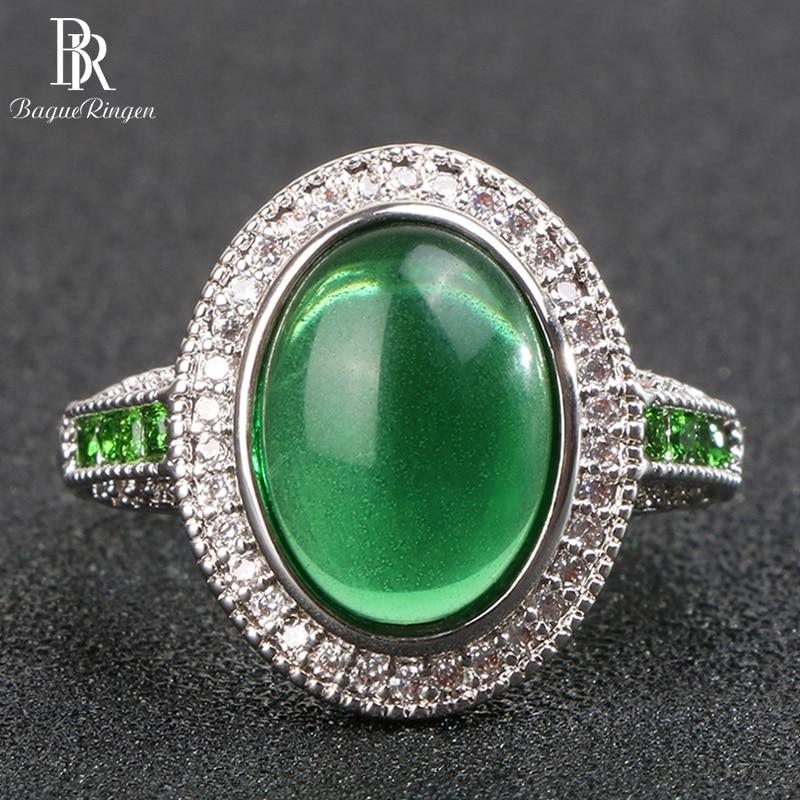 Bague Ringen 925 sterling silver rings for women with greem round emerald gemstones zircon women fine jewelry wholesale gift