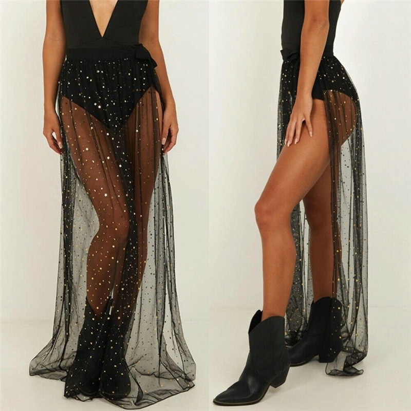 Black Sequins Mesh See Through Dress Bikini Cover Ups Women Swimsuit High Elastic Waist Maxi Wrap Skirt Sarong Pareo Beach Wear