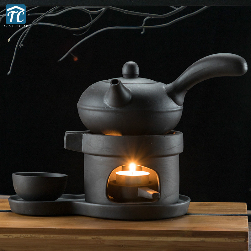 Warm Tea Maker Teapot Heating Base Ceramic Candle Tray Holding Furnace Warmer Wine Boiled Tea Heated Insulation Base Coffee