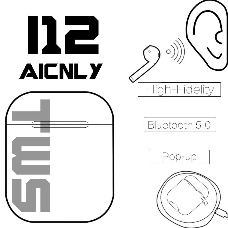 Original I12 Tws Controle de Toque Sem Fio Bluetooth 5.0 Mini Fones de Ouvido Fones De Ouvido Fones de Ouvido Para Iphone Android Pk I10 I11 Fone Sem fio