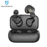SOUNDPEATS Dual Dynamic Drivers Wireless Earbuds Bluetooth 5.0 APTX Audio CVC Noise Cancellation 27Hrs Play Time Earphones