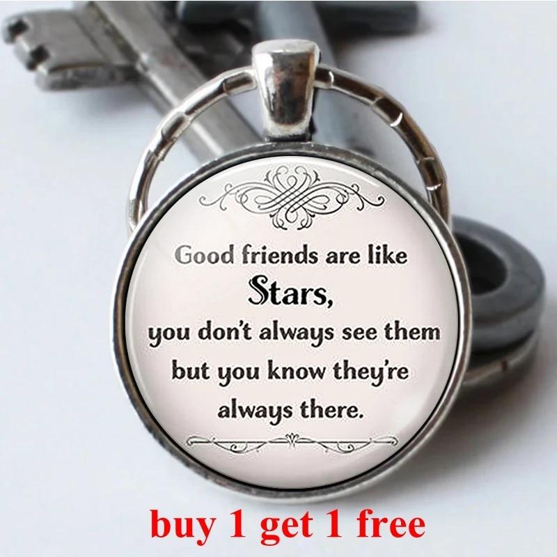 Good Friends Are Like Stars Friendship Keychain Keyring Car Keychain Pendant