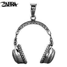 ZABRA Gothic Solid 925 Sterling Silver Music ชุดหูฟังสร้อยคอจี้สำหรับผู้ชาย 70*32 มม.แฟชั่น BIKER ชายเครื่องประดับ