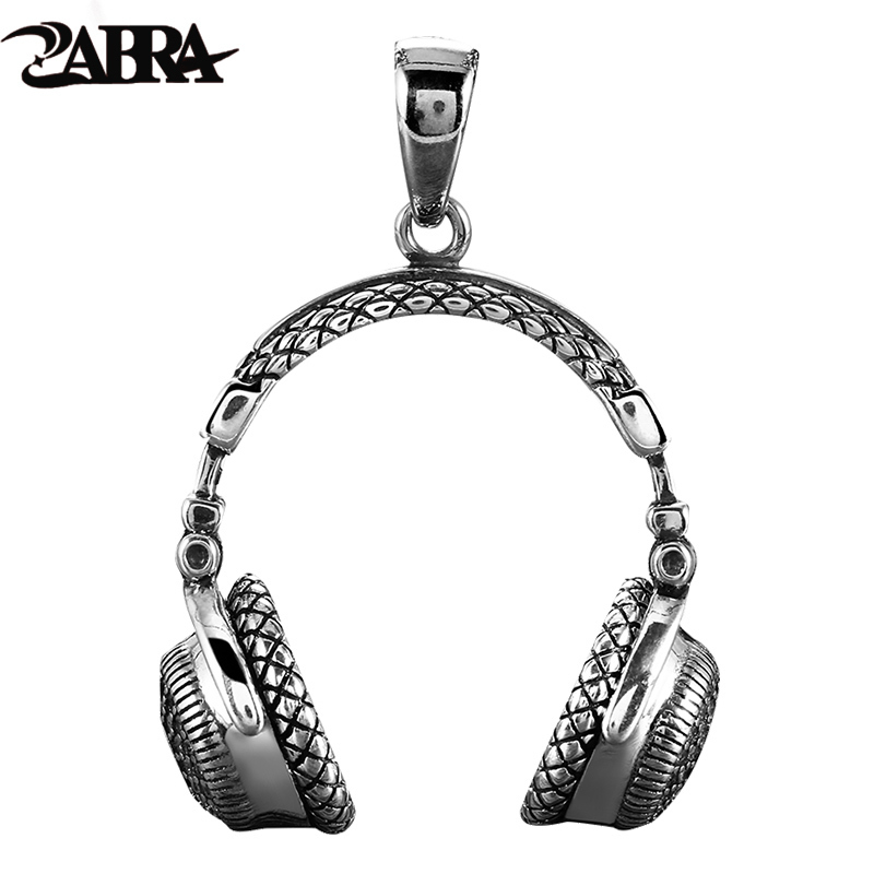 ZABRA Gothic Solid 925 Sterling Silver Music Headset Pendant Necklace For Men 70*32mm Vintage Fashion Biker Male Jewelry