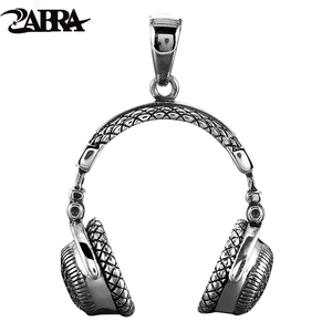 Image 1 - ZABRA Gothic Solid 925 Sterling Silver Music Headset Pendant Necklace For Men 70*32mm Vintage Fashion Biker Male Jewelry