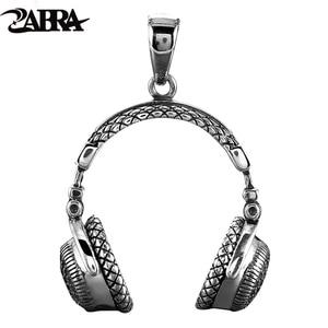Image 1 - Zabra Gothic Solid 925 Sterling Zilver Muziek Headset Hanger Ketting Voor Mannen 70*32 Mm Vintage Fashion Biker Mannelijke sieraden
