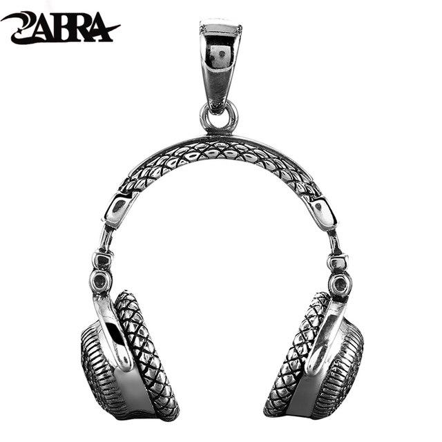 Zabra Gothic Solid 925 Sterling Zilver Muziek Headset Hanger Ketting Voor Mannen 70*32 Mm Vintage Fashion Biker Mannelijke sieraden
