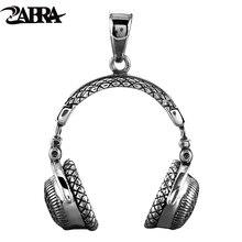 Zebra gotik katı 925 ayar gümüş müzik kulaklık kolye kolye erkekler için 70*32mm Vintage moda Biker erkek takı
