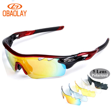 OBAOLAY 5 lens Polarized Cycling Sunglasses Sport Cycling Glasses Mens Mountain Bike Goggles UV400 Cycling Eyewear Bicycle Glass цена 2017