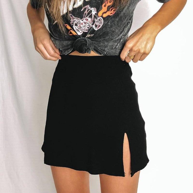 Women skirt Solid Color A Line Bag Hip Mini Casual Slits High Waist Summer Sexy slit high waist zip women skirt NEW!