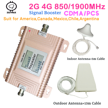 ZQTMAX 850 1900 cell phone signal booster 850Mhz 1900Mhz GSM repeater 2G 3G 4G repetidor de sinal celular for smart home set