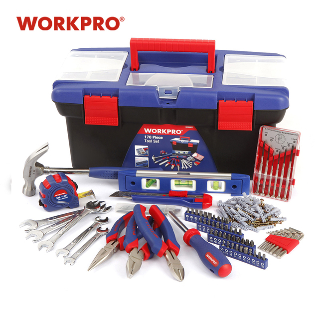 WORKPRO 170PC Household Tool Set Home Tools Plastic Tool Box Set 1