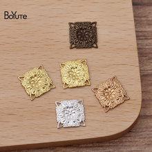 Boyute (200 peças/lote) metal latão carimbar 10mm quadrado filigrana achados materiais diy feito à mão jóias acessórios atacado