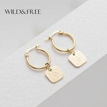 Дикие и свободные модные серьги-кольца из нержавеющей стали с маленьким круговым кольцом, золотые геометрические очаровательные серьги-кольца с подвеской для женщин и девочек